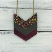 EMERSON - Leather Necklace  ||  <BR> AUTUMN HARVEST GLITTER (NOT REAL LEATHER), <BR> OLIVE GREEN, <BR>METALLIC BURGUNDY SMOOTH