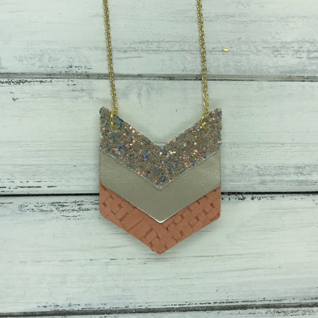 EMERSON - Leather Necklace  ||  <BR> GLAMOUR GLITTER (NOT REAL LEATHER), <BR> METALLIC CHAMPAGNE SMOOTH, <BR>SALMON PANAMA WEAVE