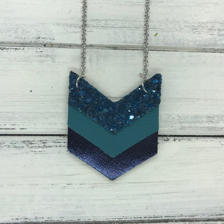 EMERSON - Leather Necklace  ||  <BR> TEAL GLITTER (NOT REAL LEATHER), <BR> MATTE DARK TEAL, <BR>METALLIC NAVY SMOOTH