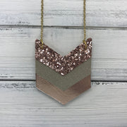 EMERSON - Leather Necklace  ||  <BR> ROSE GOLD GLITTER (NOT REAL LEATHER), <BR> SHIMMER CHAMPAGNE, <BR> METALLIC ROSE GOLD SMOOTH
