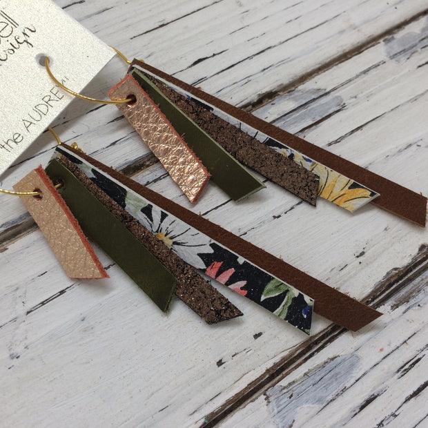 AUDREY - Leather Earrings  || METALLIC COPPER, OLIVE GREEN, SHIMMER COPPER, FLORAL, BROWN