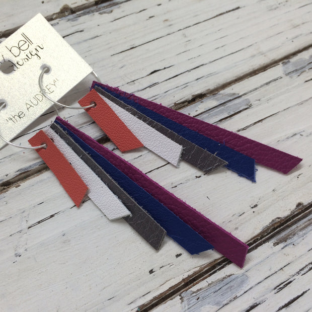 AUDREY - Leather Earrings  || MATTE SALMON, WHITE, PEARL GRAY, MATTE COBALT BLUE, FUCHSIA