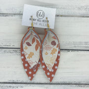 ALLIE -  Leather Earrings  ||  <BR> FALL LEAVES, <BR> ORANGE WITH WHITE POLKADOTS