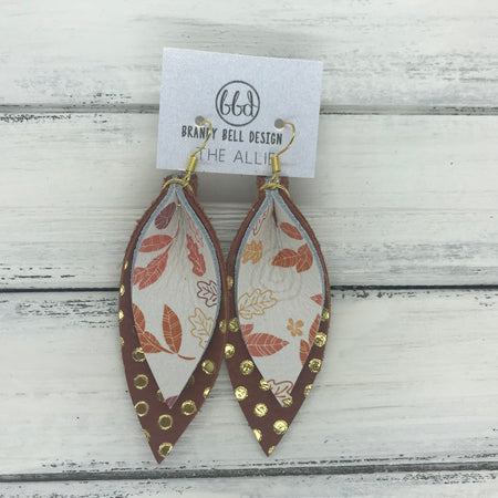 ALLIE -  Leather Earrings  ||  <BR> FALL LEAVES, <BR> BROWN WITH METALLIC GOLD POLKADOTS
