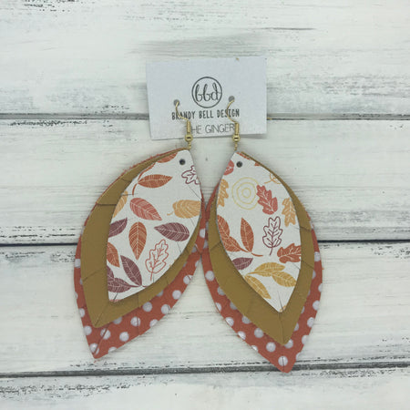 GINGER - Leather Earrings  ||  <BR>  FALL LEAVES <BR> MUSTARD YELLOW <BR> ORANGE WITH WHITE POLKADOTS