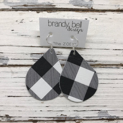 ZOEY (3 sizes available!) -  Leather Earrings  ||  BLACK AND WHITE BUFFALO PLAID