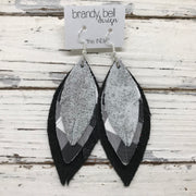 INDIA - Leather Earrings  ||   WHITE & SILVER DISTRESSED, BLACK & WHITE BUFFALO PLAID, SHIMMER BLACK