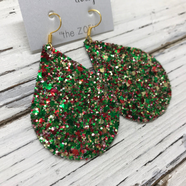 ZOEY (3 sizes available!)-  GLITTER ON CANVAS Earrings  (not leather)  ||  CHRISTMAS GLITTER
