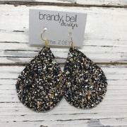 ZOEY (3 sizes available!) -  GLITTER ON CANVAS Earrings  (not leather)  ||  NEW YEAR GLITTER