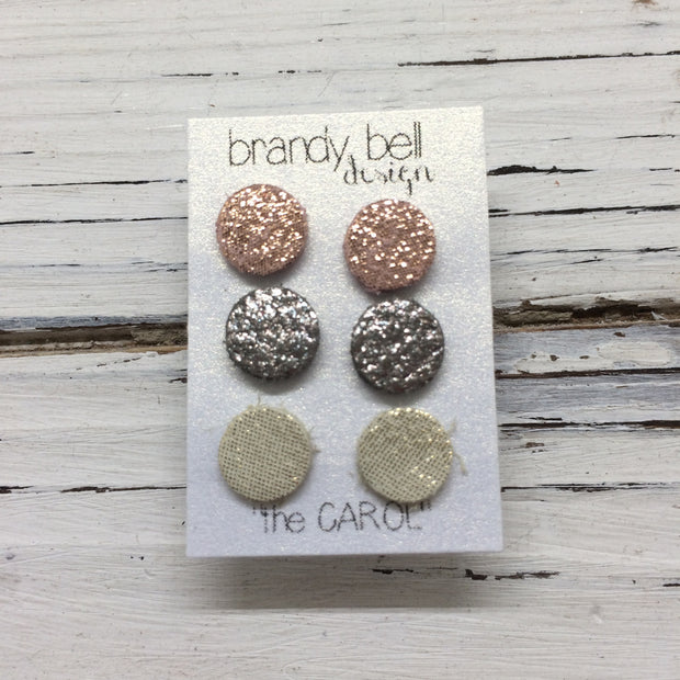 7415766fa CAROL (3/PACK) - Leather Stud Earrings || SHIMMER PINK, IRIDESCENT ...