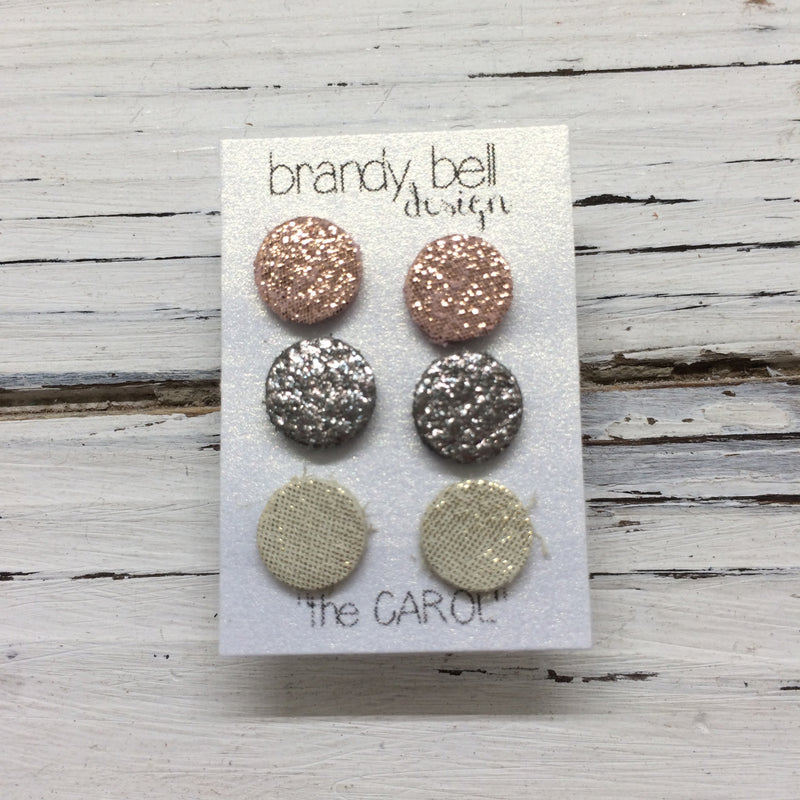 CAROL (3/PACK) - Leather Stud Earrings  || SHIMMER PINK, IRIDESCENT SILVER, SHIMMER GOLD