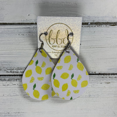 ZOEY (3 sizes available!) -  Leather Earrings  || LEMONS (FAUX LEATHER)
