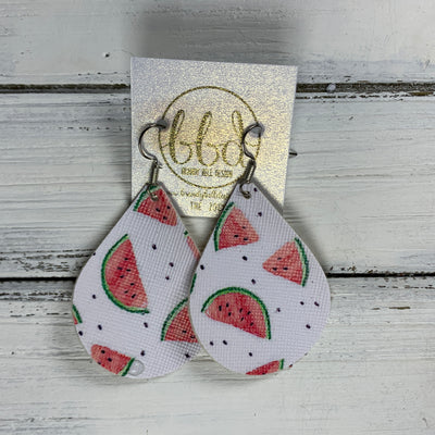 ZOEY (3 sizes available!) -  Leather Earrings  || WATERMELONS (FAUX LEATHER)
