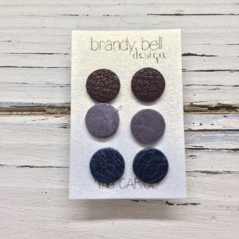 CAROL (3/PACK) - Leather Stud Earrings   || VERY DARK BURGUNDY, LAVENDER/GRAY, DARK NAVY