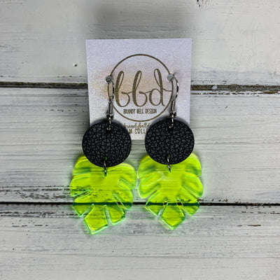 LIMITED EDITION PALM COLLECTION -  Leather Earrings  ||  <BR>  MATTE BLACK, <BR> NEON YELLOW PALM LEAF