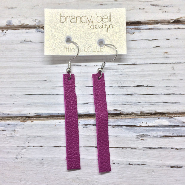 LUCILLE - Leather Earrings  ||  MATTE FUCHSIA