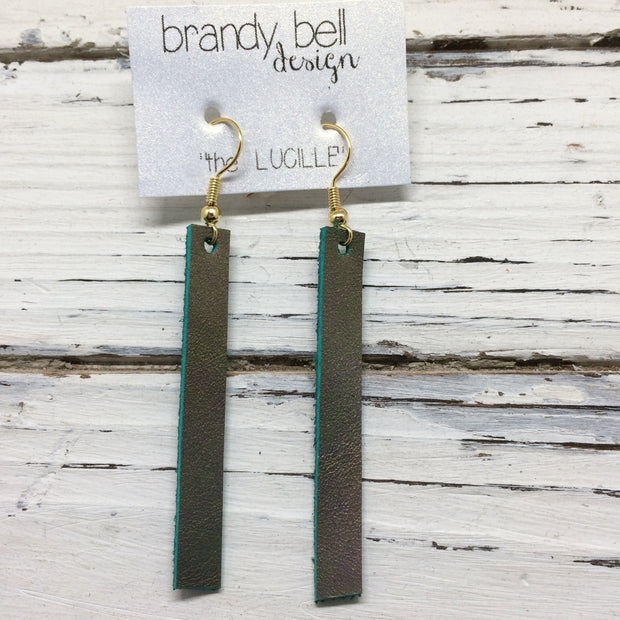 LUCILLE - Leather Earrings  ||  IRIDESCENT GOLD/GREEN/PURPLE