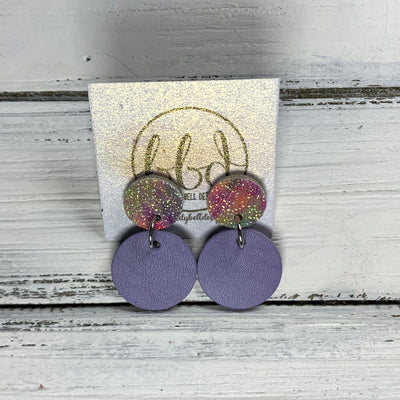 GLITTER POST *Limited Edition* COLLECTION ||  Leather Earrings || GLITTER STUD WITH LAVENDER CIRCLE