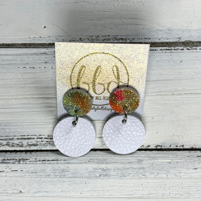 GLITTER POST *Limited Edition* COLLECTION ||  Leather Earrings || GLITTER STUD WITH MATTE WHITE CIRCLE