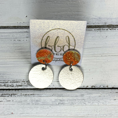 GLITTER POST *Limited Edition* COLLECTION ||  Leather Earrings || GLITTER STUD WITH METALLIC CHAMPAGNE CIRCLE