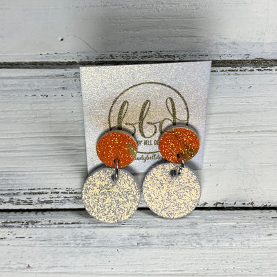 GLITTER POST *Limited Edition* COLLECTION ||  Leather Earrings || GLITTER STUD WITH SHIMMER ROSE GOLD CIRCLE