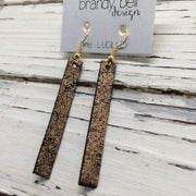 LUCILLE - Leather Earrings  ||  METALLIC COPPER CRACKLE ON BLACK