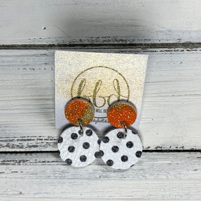 GLITTER POST *Limited Edition* COLLECTION ||  Leather Earrings || GLITTER STUD WITH WHITE WITH BLACK POLKADOTS CIRCLE