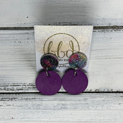 GLITTER POST *Limited Edition* COLLECTION ||  Leather Earrings || GLITTER STUD WITH DARK PLUM CIRCLE