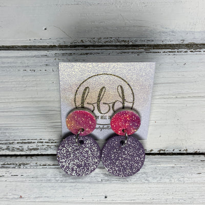 GLITTER POST *Limited Edition* COLLECTION ||  Leather Earrings || GLITTER STUD WITH SHIMMER LAVENDER CIRCLE