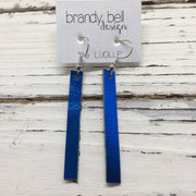 LUCILLE - Leather Earrings  ||  METALLIC COBALT BLUE