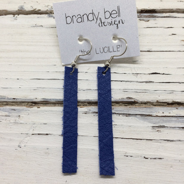 LUCILLE - Leather Earrings  ||  MATTE COBALT BLUE