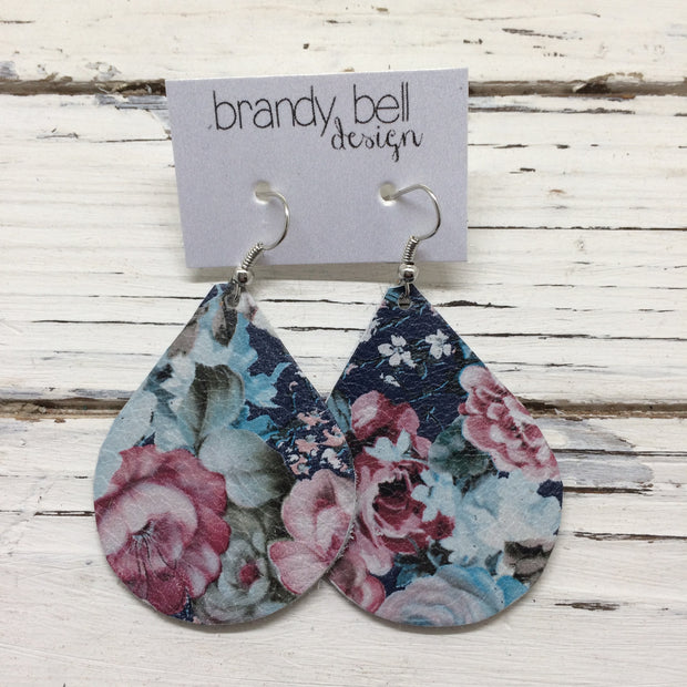 ZOEY (3 sizes available!) - Leather Earrings  || VINTAGE FLORAL