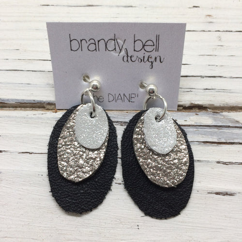 DIANE - Leather Earrings  || SHIMMER SILVER, IRIDESCENT SILVER, MATTE BLACK