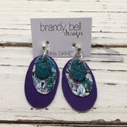 DIANE - Leather Earrings  || DARK TEAL, PURPLE/GREEN FLORAL, MATTE PURPLE