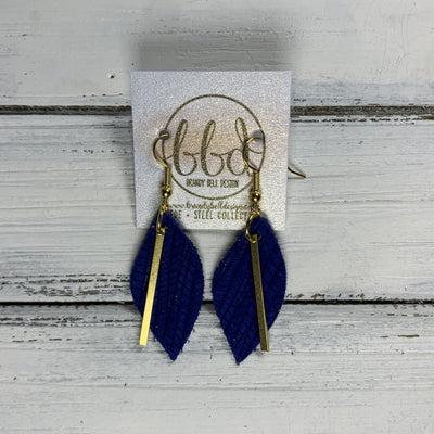 "SUEDE + STEEL *Limited Edition* COLLECTION ||  Leather Earrings || GOLD BAR, <BR> COBALT PALMS ""LUCY"" SHAPE"