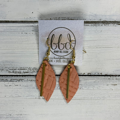 "SUEDE + STEEL *Limited Edition* COLLECTION ||  Leather Earrings || GOLD BAR, <BR> CORAL PANAMA WEAVE ""LUCY"" SHAPE"
