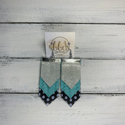 WAVERLY <BR> SUEDE + STEEL  COLLECTION ||Leather Earrings ||SHIMMER SILVER, AQUA BRAID, BLACK WITH WHITE POLKADOTS