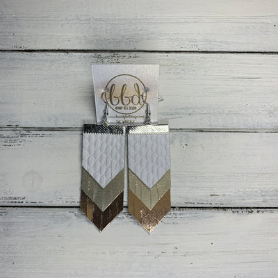 WAVERLY <BR> SUEDE + STEEL  COLLECTION ||  Leather Earrings ||WHITE COBRA, METALLIC CHAMPAGNE SMOOTH, METALLIC ROSE GOLD SMOOTH