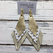 COLLEEN -  Leather Earrings  || METALLIC GOLD, WHITE WITH METALLIC GOLD POLKA DOTS, SHIMMER GOLD