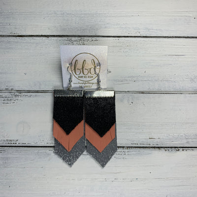 WAVERLY <BR> SUEDE + STEEL  COLLECTION || Leather Earrings || SHIMMER BLACK, MATTE SALMON, SHIMMER GRAY