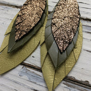 INDIA - Leather Earrings  || METALLIC CRACKLE COPPER, MATTE OLIVE GREEN, PEARLIZED OCHRE