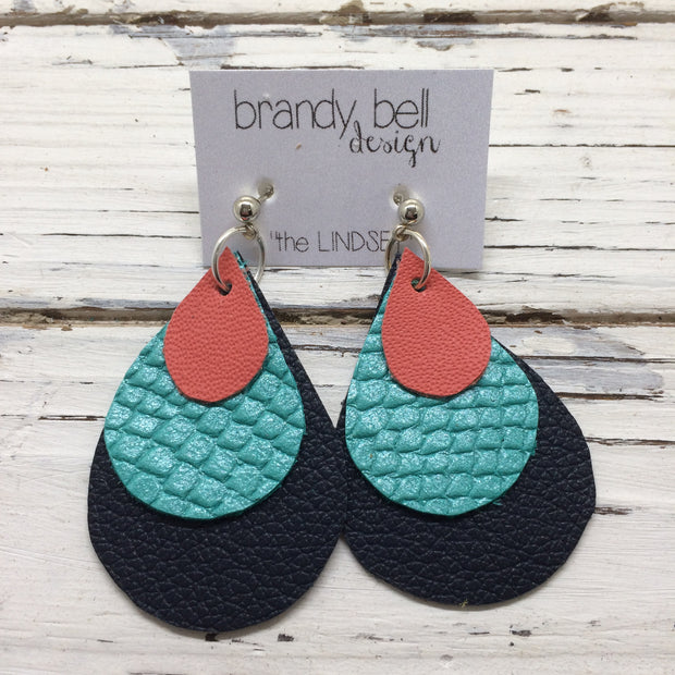 LINDSEY - Leather Earrings  ||  MATTE SALMON, PEARLIZED AQUA COBRA, MATTE NAVY