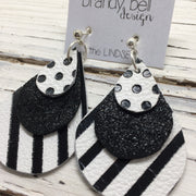 LINDSEY - Leather Earrings  ||  WHITE WITH BLACK POLKA DOTS, SHIMMER BLACK, WHITE WITH BLACK STRIPES