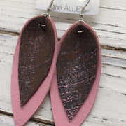 ALLIE -  Leather Earrings  || BROWN WITH METALLIC PINK, MATTE PINK