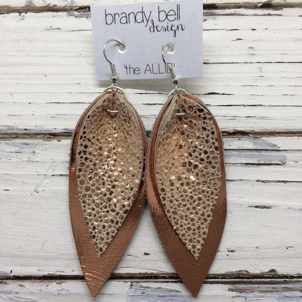 ALLIE -  Leather Earrings || METALLIC COPPER DOTS, METALLIC COPPER