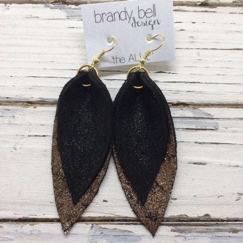ALLIE -  Leather Earrings || SHMMER BLACK, SHIMMER COPPER