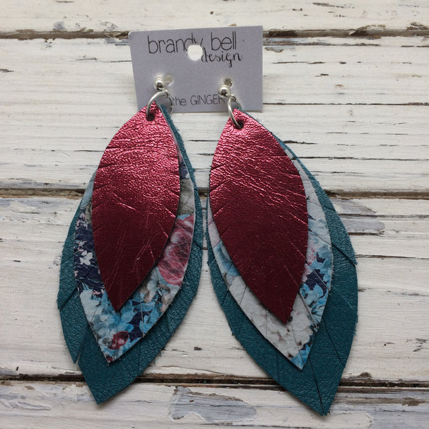 GINGER - Leather Earrings  || METALLIC CRANBERRY, VINTAGE FLORAL, MATTE DARK TEAL