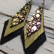 COLLEEN -  Leather Earrings ||  IRIDESCENT GREEN/PURPLE DOTS, PEARLIZED OCHRE, MATTE BLACK