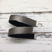 ANGEL - WRAP BRACELET / CHOKER NECKLACE - handmade by Brandy Bell Design || PEARLIZED PEWTER/DARK GRAY