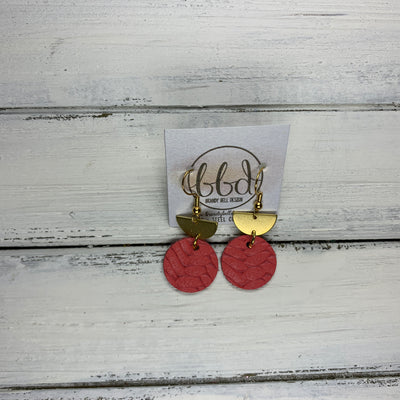 SUEDE + STEEL *Limited Edition* COLLECTION ||Leather Earrings || <BR> TINY GOLD HALF CIRCLE, <BR> CORAL BRAID